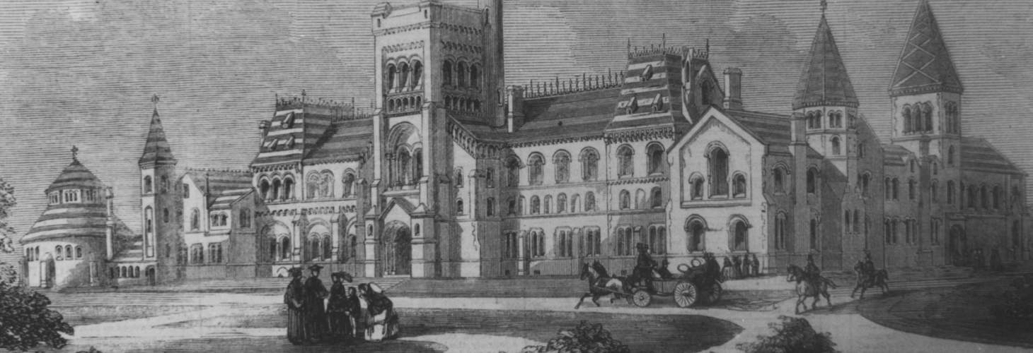 Drawing of University College with people chatting, a horse-drawn carriage, and two people on horseback