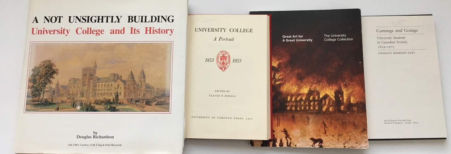 covers or title pages of four books about University College history
