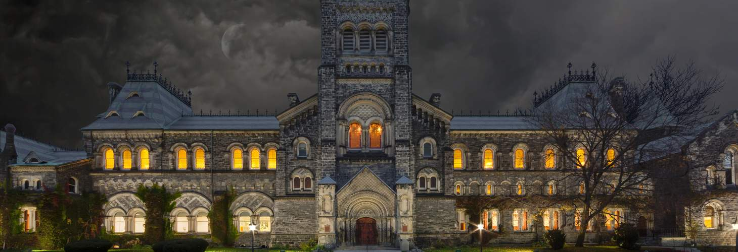 Front of UC building on a spooky night