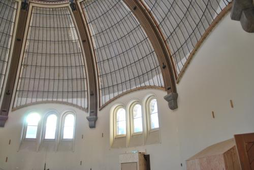 An inside view of the spherical building Croft Chapter House
