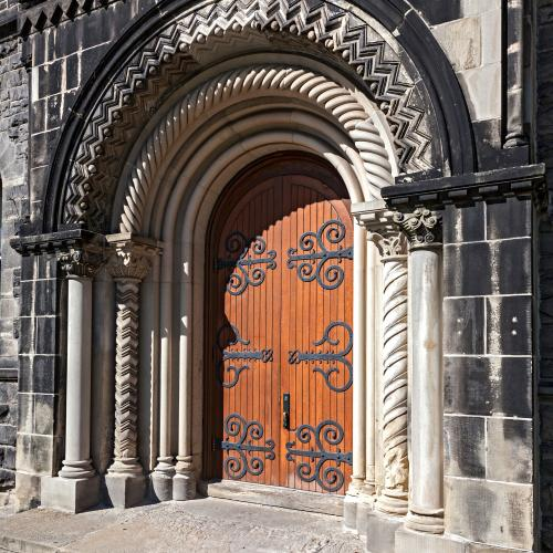 UC's Ornate Stone & Wooden Enterance Doors