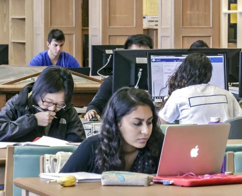 Four students studying in library