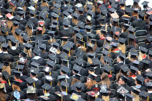 Aerial view of students wearing graduation caps