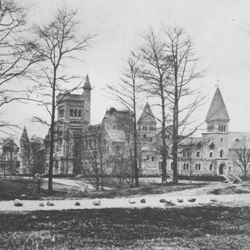 Black & White historical photo of the UC building's construction