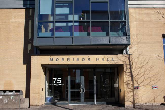 exterior front doors of morrison hall residence