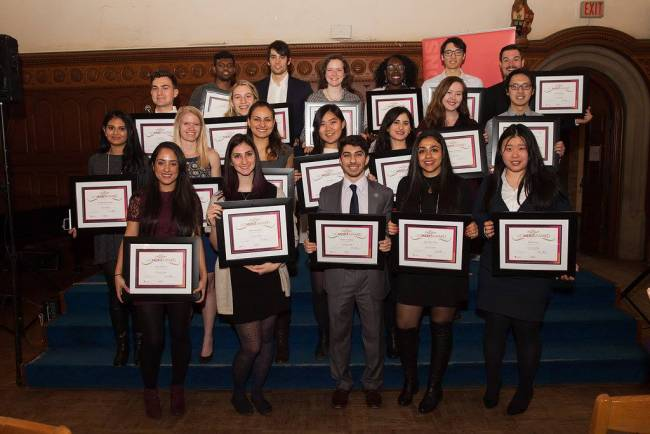 UC Merit Award recipients with awards in hands