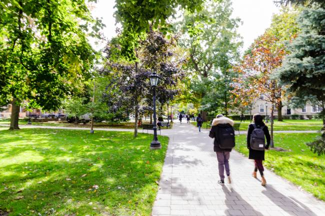 Two students walk away on a path through the Sir Dan's quad