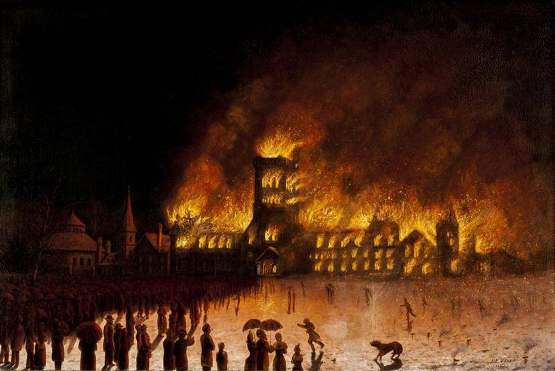 painting of University College on fire in 1890