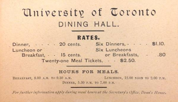 "Card listing ""University of Toronto DINING HALL RATES"""
