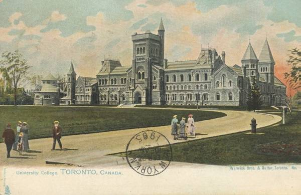 Early colour postcard showing front of University College, lawn, and pathway with pedestrians