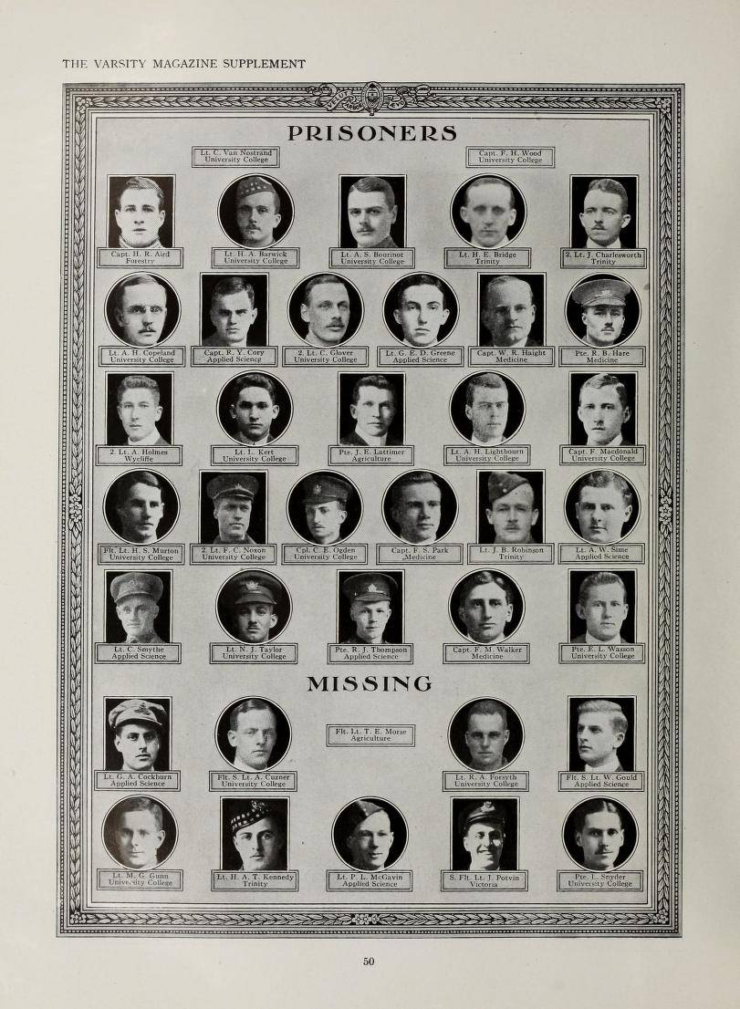 "Names and photos of 27 men under the heading ""Prisoners"" and of 9 men under the heading ""Missing"""