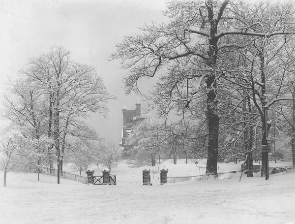 Gates and snowy park with University College in distance