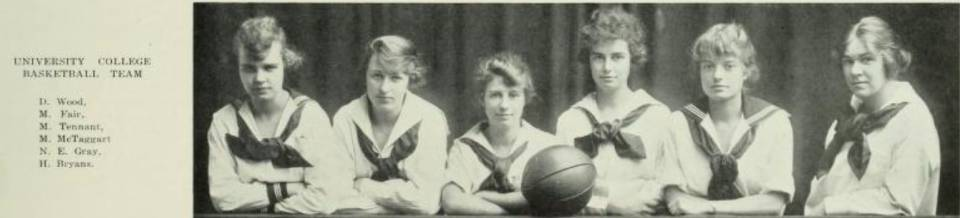 "Six women and a basketball, with the heading ""University College Basketball Team"""
