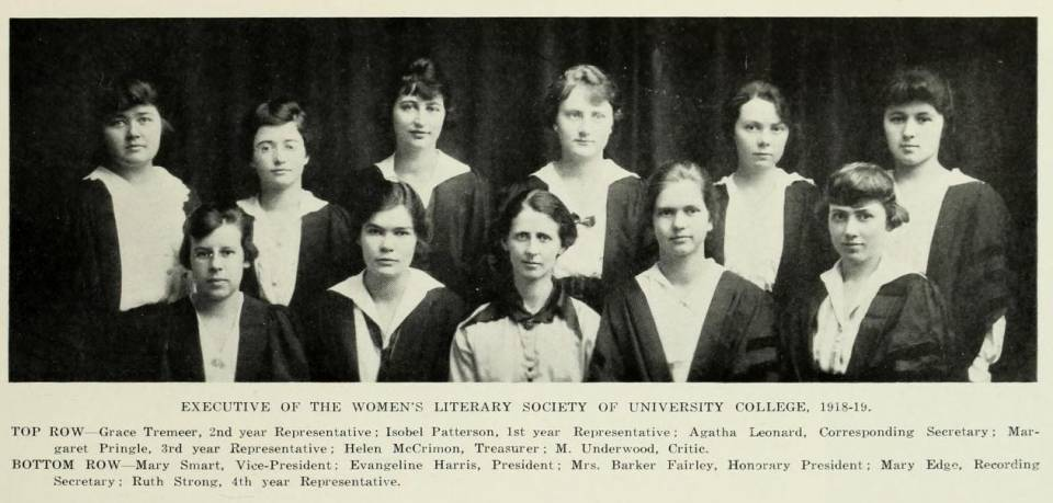 "Eleven women in academic robes, with a caption listing their names and positions under the heading ""Executive of the Women's Literary Society of University College, 1918-19"""