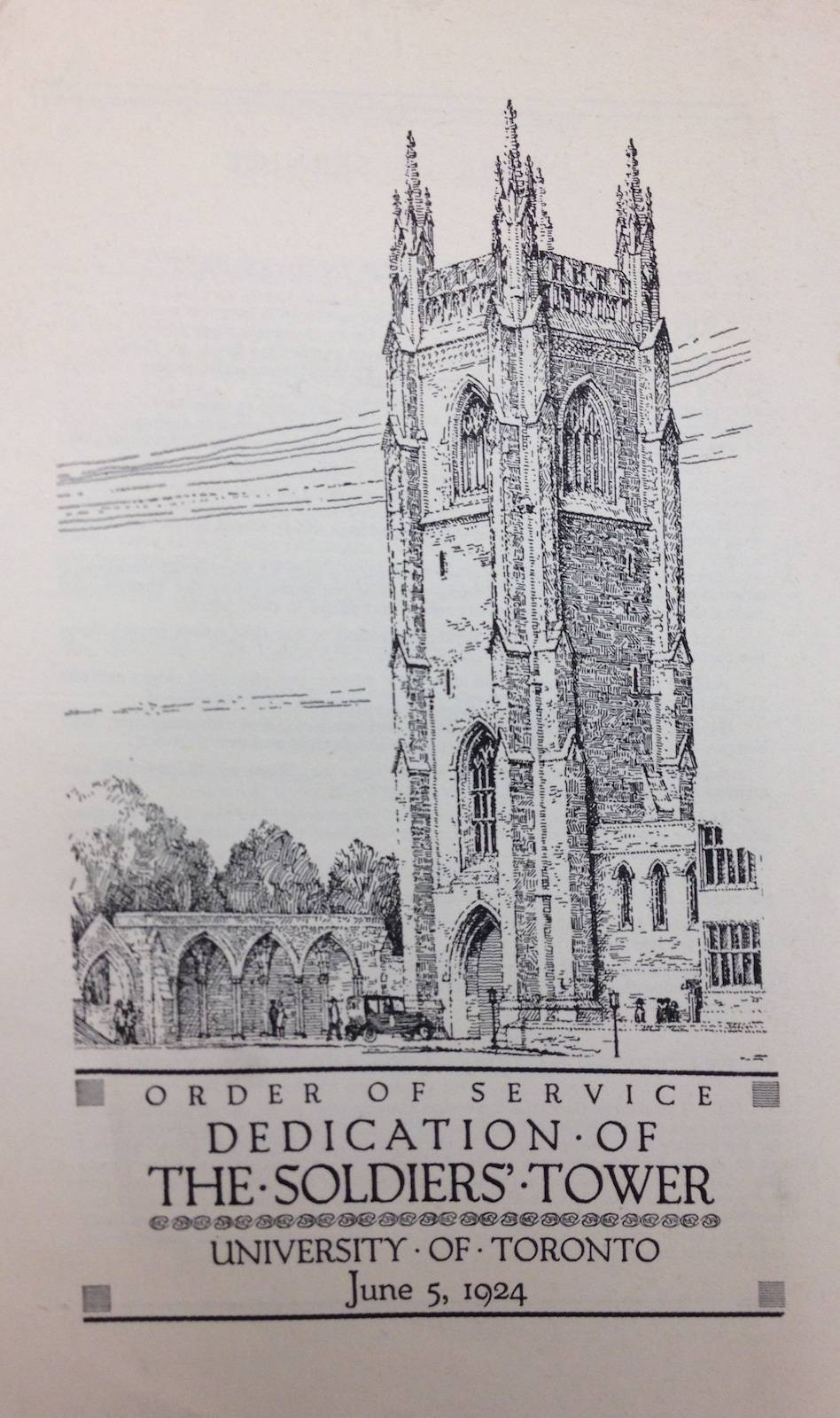 "Front cover of ""Order of Service, Dedication of the Soldiers' Tower"", with a drawing of Solders' Tower"