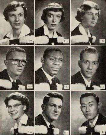 Yearbook photos of nine graduating students
