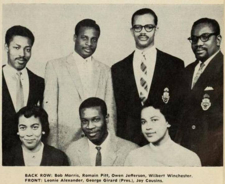 eight members of the West Indian Students' Assocation (five men and two women)