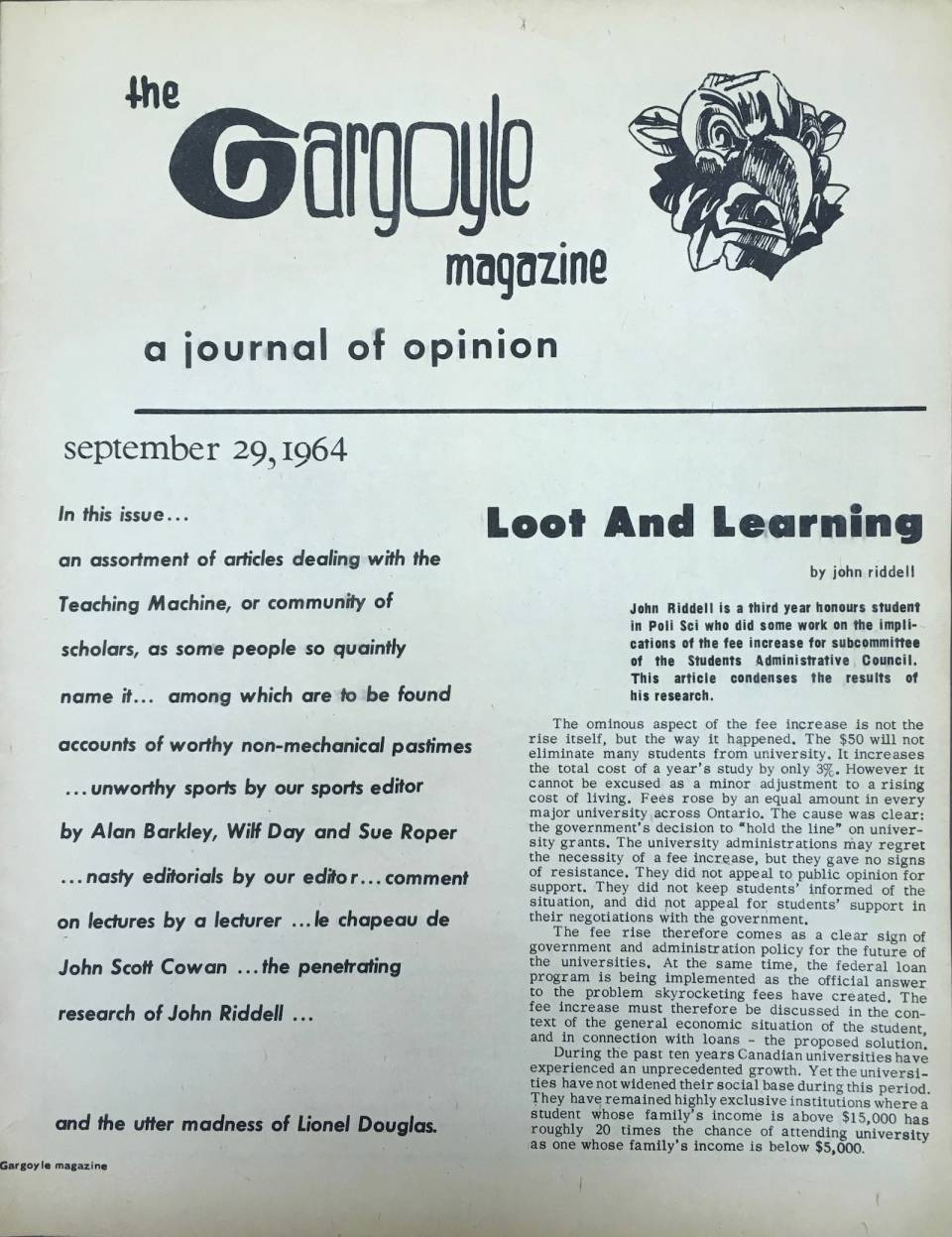 "Front page of ""The Gargoyle Magazine, a journal of opinion, September 29, 1964"""