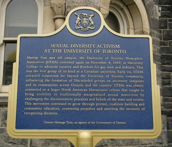 "plaque headed ""Sexual Diversity Activism at the University of Toronto"""
